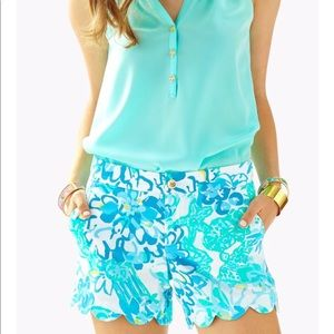 Lilly Pulitzer Buttercup Scallop Shorts Blue Sz 00